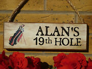Personalised Golfers Sign Club Sign Funny Wooden Sign 19th Hole Sign Golf Gifts