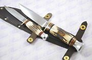 Genuine Authentic Round Tang Stag 5 And 3 Double Bowie Knife Sheffield England
