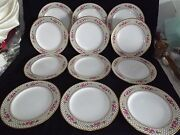 Spode England 12 Dinner Plates Double Rose Gold Net/fish Scale Trim R4890 Signed