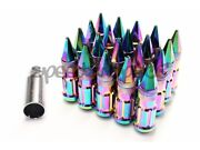 Z Racing Neo Chrome Spike Lug Nuts 12x1.5mm Steel Open Extended Key Tuner