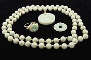 Rare Authentic Antique 14kt Yellow Gold Jade Pendant, Ring, Necklace Jewelry Set