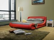 Greatime Contemporary Red Leatherette Bed With Headboard Light And Curved Slats