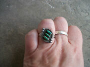 Vintage Pettipoint Turquoise Ring Native American Indian Old Pawn 7