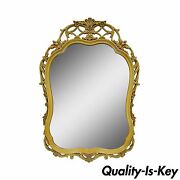 44 X 31 Vintage Hollywood Regency French Floral Wood Wall Vanity Console Mirror