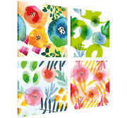 4 Piece Abstract Flower Art Work Framed Canvas Wall Prints Floral Pictures Deco