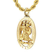 Menand039s Yellow 14k St Christopher Oval 1.25 Pierced Pendant Necklace 20 To 26