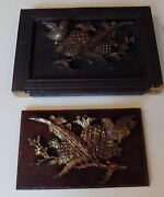 Chinese Antique Carved Wood Pair Panels Large Birds Flower And Pineapple
