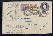 1919 Us Ww1 Victory Stationary Cover Registered From Nassau St Ny W/ 537 And C1