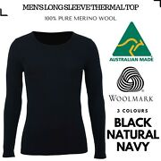Menand039s 100 Pure Merino Wool Thermal Long Sleeve Top T Shirt Underwear Thermals