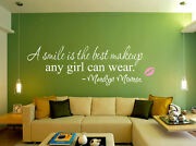 A Smile Is The Best Makeup Marilyn Monroe Wall Art Quote Wall Stickers Uk Sh202