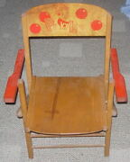 Pinky Lee Child's Folding Play Chair C. 1950's Nbc Tv Fritzel Toys Wooden