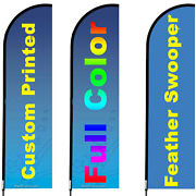 3 Customized Feather Flags 10and039 Full Color Swooper Flags With Poles And Stands