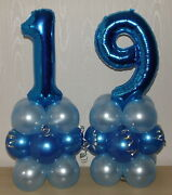 19th Birthday - Age 19 - Male - Boy - Foil Balloon Display - Table Centrepiece