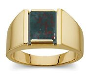 New Menand039s 14k Or 10k Yellow Or White Solid Gold Bloodstone Open Back Ring