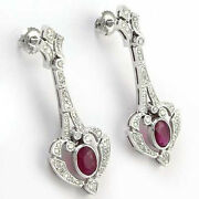 14k White Gold Genuine Ruby And Diamond Russian Style Drop Earrings 585.