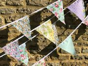 Handmade Fabric Bunting.shabby N Chic,vintage Wedding Florals Clearance From £3.
