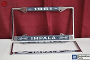 1961 Chevy Impala Gm Licensed Front Rear License Plate Holder Retainer Frames