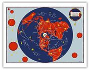 World Map Neighbors Air Routes Vintage Airline Travel Art Poster Print Giclée