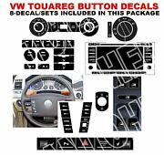 2004-2009 Fits Vw Touareg Button Decal Stickers Master 8 Sets Ac Radio Steering