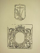 Antique Woodcut Print Medieval Ornamental Frame Gothic Cross And Sword Seal