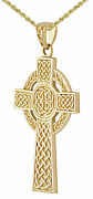 1 3/4in Heavy 11g Solid Back 14k Gold Irish Celtic Knot Cross Pendant Necklace