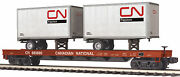 Mth Premier O 685885 Cn Canadian National Flat Car W' 2 Pup Trailers 20-95166