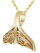 New Solid 14k Yellow Gold Aboriginal Whale Tail Aquatic Charm Pendant Necklace