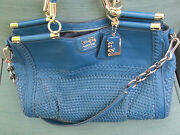 Coach Teal Woven And Leather Madison Caroline Bag Preowned