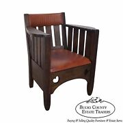 Antique Mission Oak And Leather Cube Chair