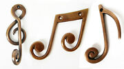 Solid Brass Wall Hooks Coat Hanger Treble Clef And Musical Notes 10 Cm High, New