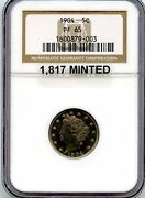 C7632- 1904 Proof Liberty And039vand039 Nickel Ngc Pf65 - 1817 Minted
