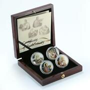 Niue, A Set Of 4 Coins, 2, The Evangelists, Color, Silver, Proof 2011