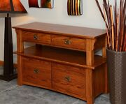 Lateral Filing Cabinet Solid Oak 2 Tier Mission Style 147