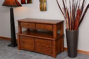 Lateral Filing Cabinet Solid Oak 2 Tier Modern Style 1045