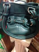 B. Makowsky Handbag Dark Green With Dust Cover 100 Genuine Leather Excellent