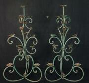 Antique Pair Of Decorative Painted Iron And Tin Floor Candle Holders Ca. 1910