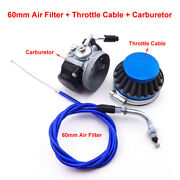50cc 60 80cc Motorized Bicycle Racing Carburetor Air Filter Blue Throttle Cable