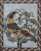 Proud Exotic Bird Colorful Feathers Ropes Leaves Marble Mosaic An1143