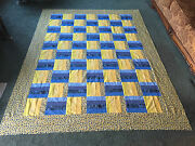 Blue And Yellow Rail Fence Quilt Top - 67 X 89 - 100 Cotton Fabric