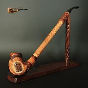 Unique Wooden Tobacco Smoking Pipe + Stand Ship 13 Churchwarden Long