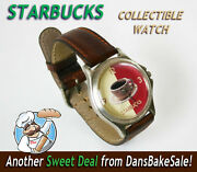 Vintage Starbucks Coffee Watch With Leather Band In Excellent Working Condition