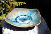 Exquisite FLAMBEAUX Art Pottery | ARTISAN SIGNED Crystalline Glazed Square Bowl