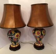 Pair Italy Majolica Sgrafitto Flower Pottery Lamp