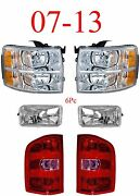 07 13 Chevy 6pc Head, Fog And Tail Light Set, Silverado Truck Complete Assemblies