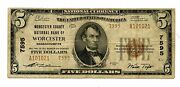 C8067- 1929 5 National Banknote - Type 2 - Worcester,ma - Ch7595 - Fine