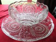 L. E. Smith Very Large Glass Punch Bowl And Underplate 22 Wide Slewed Horseshoe