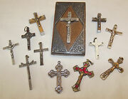 Rosary Crucifixes Paperweight One Dozen Wood/metal/molded Resin St Benedict Roma