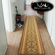 Hall Runner Traditional Standard Aralia L. Brown Width 70-120 Cm Extra Long Rugs