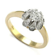 Russian Style Diamond Engagement Ring Two-tone 18k Gold .81ct. Ring Sizes 4-9