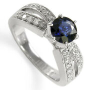 18k Solid White Gold Sapphire Diamond Anniversary Ring - Free Shipping R1122